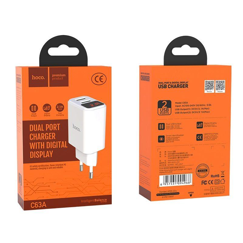 hoco c63a victoria зарядный адаптер с двумя usb eu штекер led дисплей упаковка