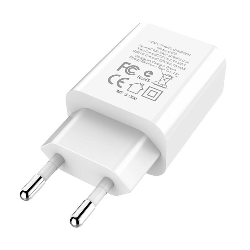 hoco c63a victoria dual port charger with digital display eu plug