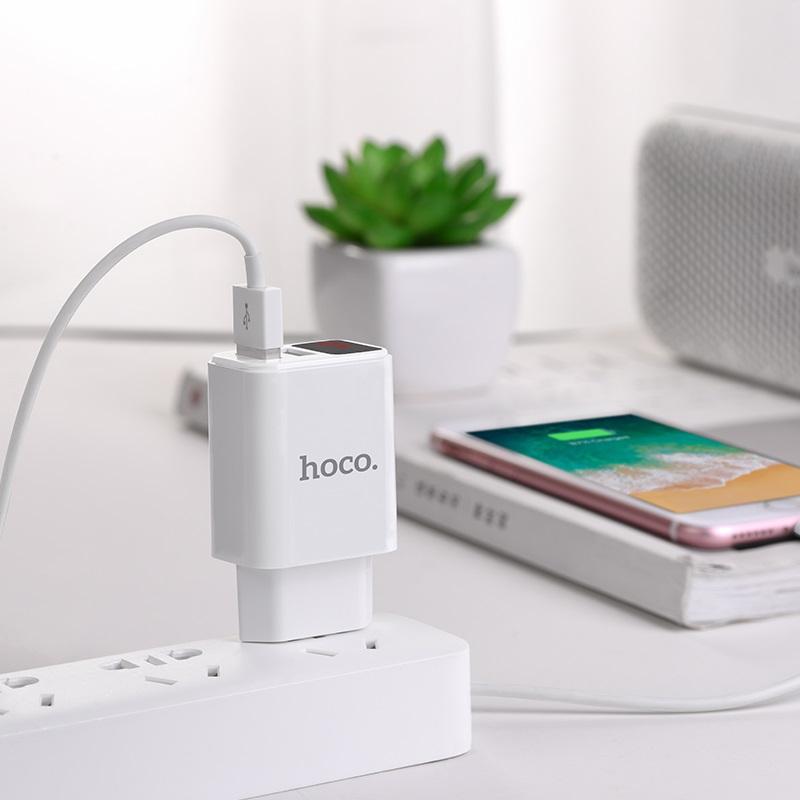 hoco c63a victoria dual port charger with digital display eu usb