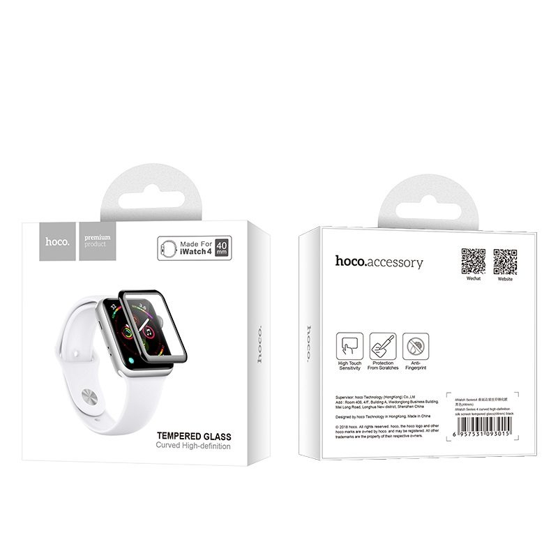 hoco curved hd silk screen tempered glass for apple watch series 4 package front back