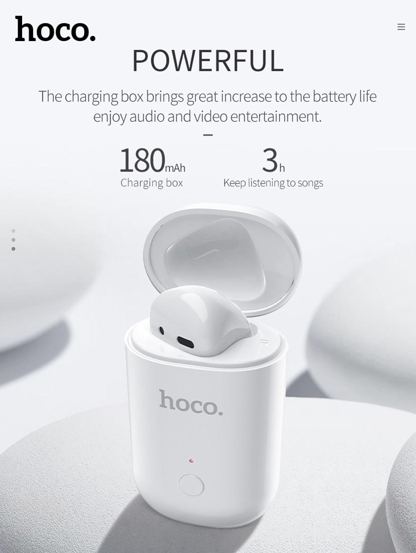 hoco e39 admire sound single wireless headset charging case en