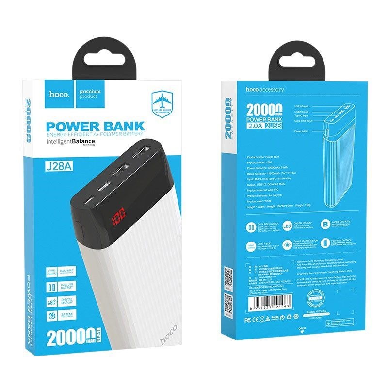 hoco j28a shock power mobile power bank 20000mAh package