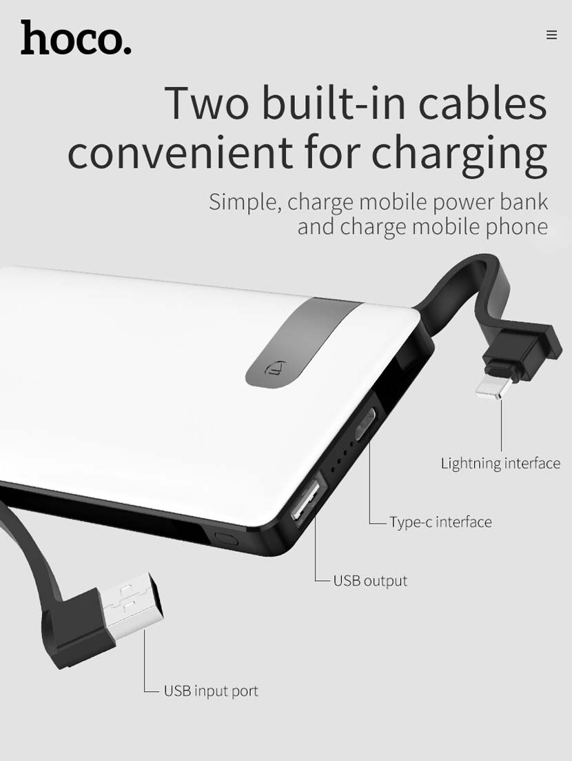 hoco j36 ample energy mobile power bank 10000mah cables en