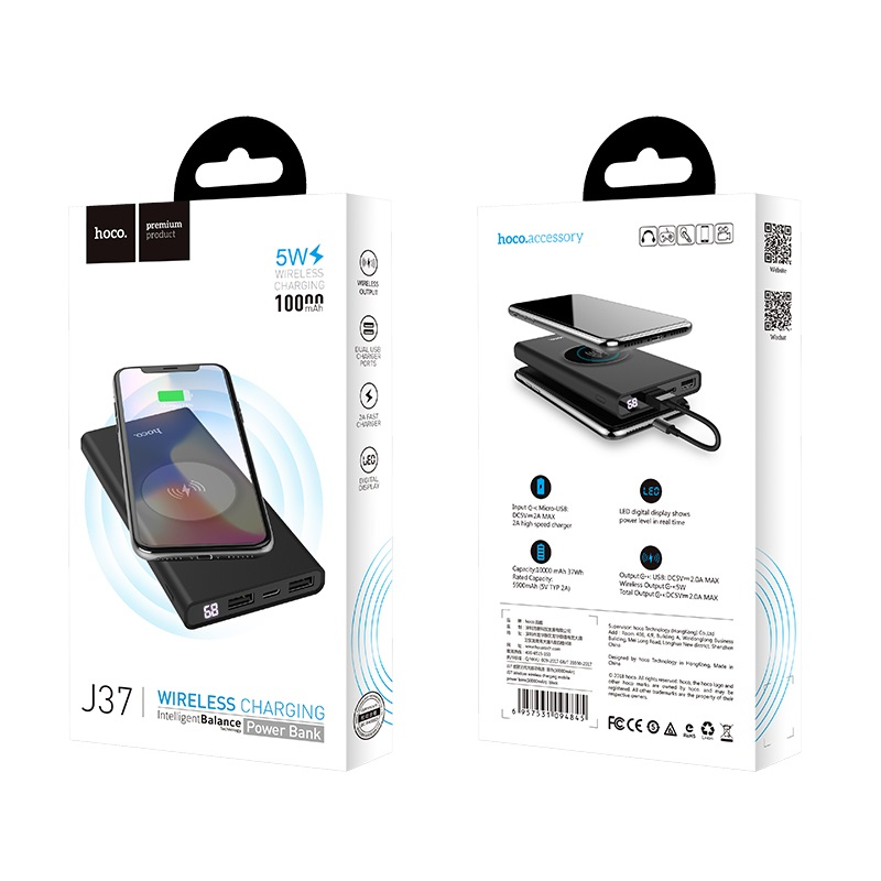 hoco j37 wisdom wireless charging mobile power bank 10000 mah box