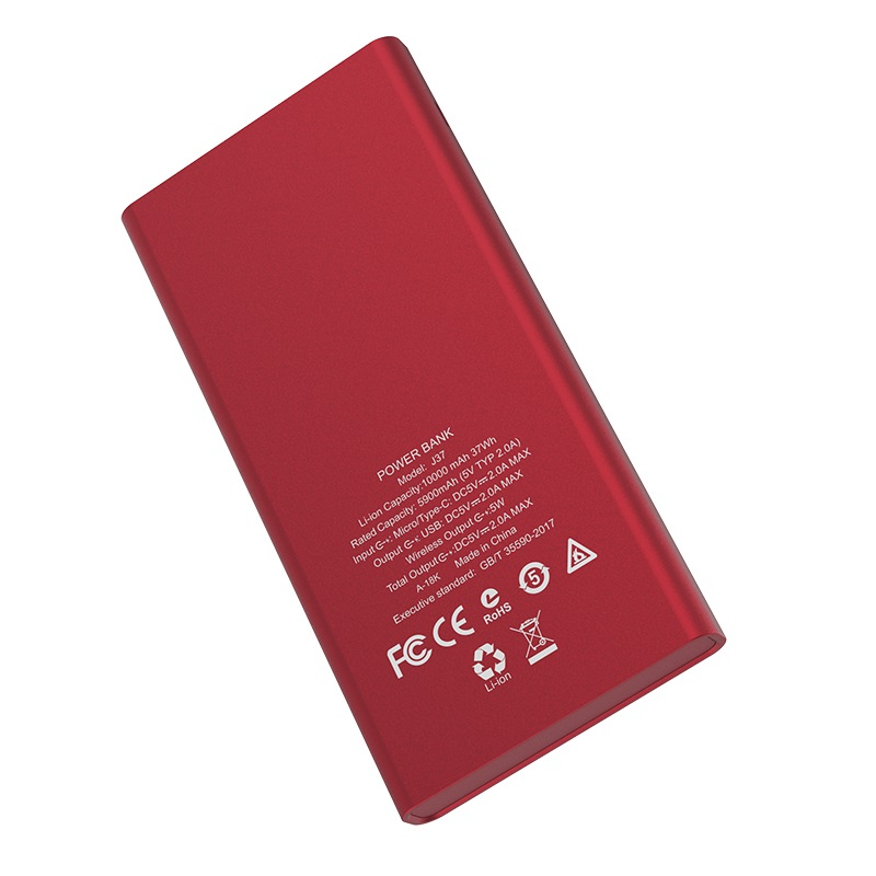 hoco j37 wisdom wireless charging mobile power bank 10000 mah texture