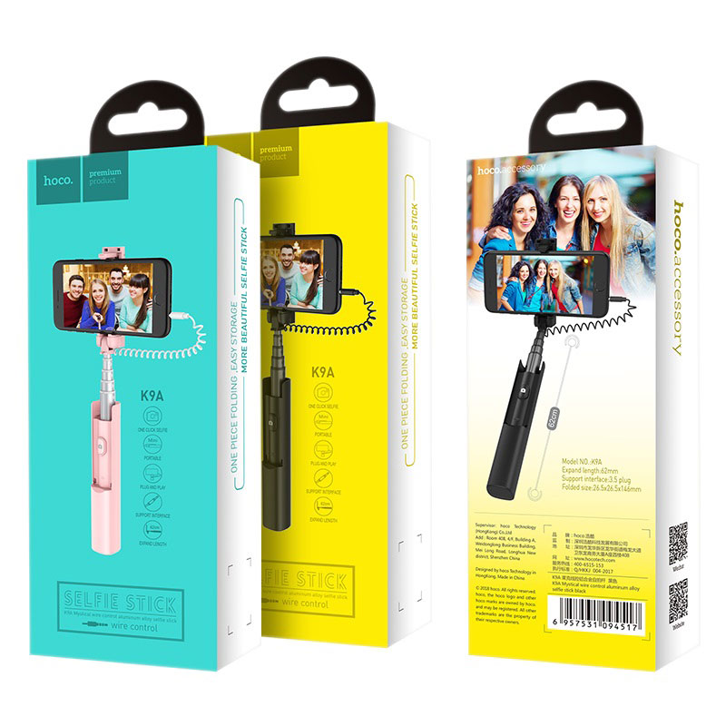 hoco k9a mystical wire control aluminum alloy selfie stick package