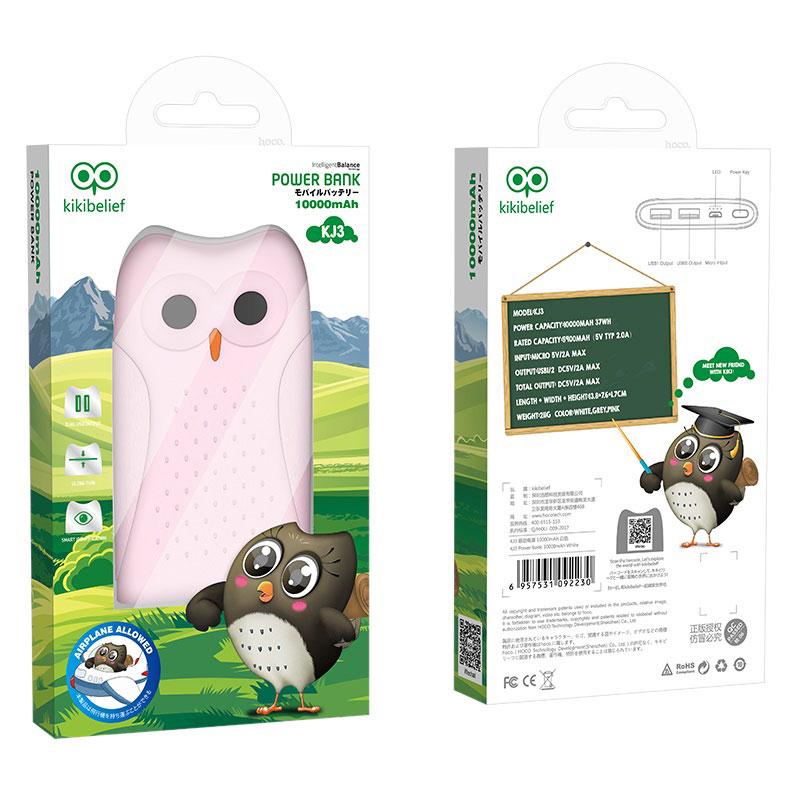 hoco kikibelief kj3 mobile power bank 10000 mah box pink
