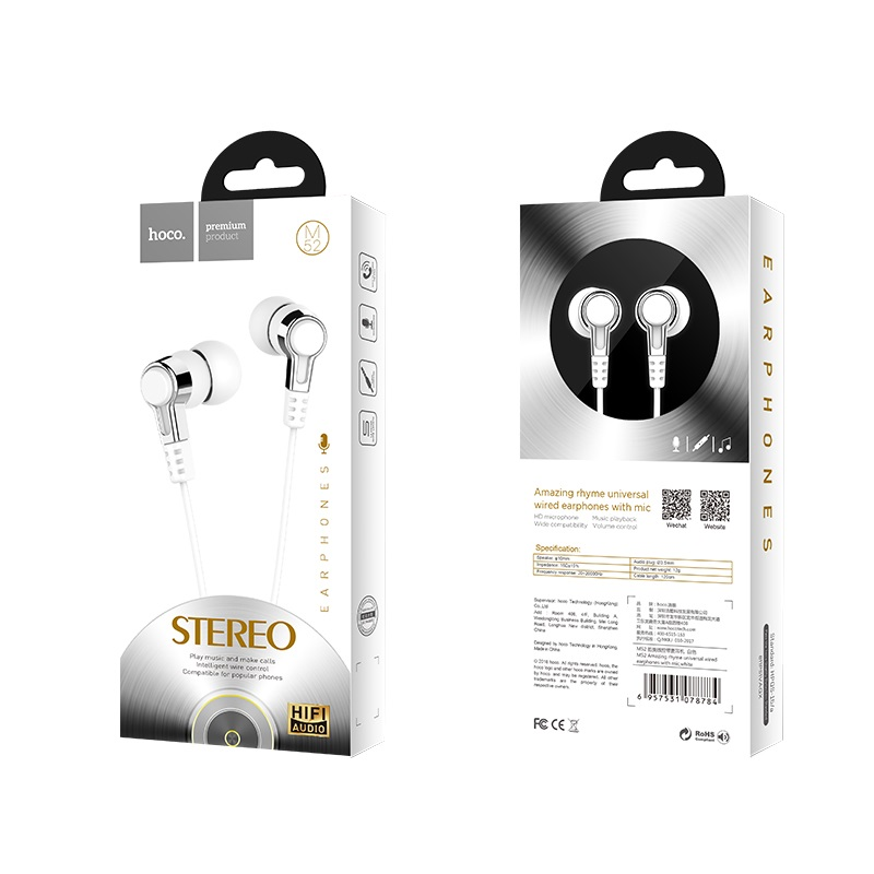 hoco m52 amazing rhyme universal wired earphones with mic package front rear