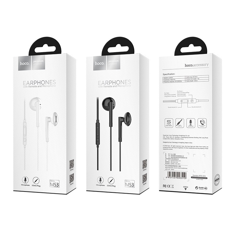hoco m53 exquisite sound wired earphones with mic package
