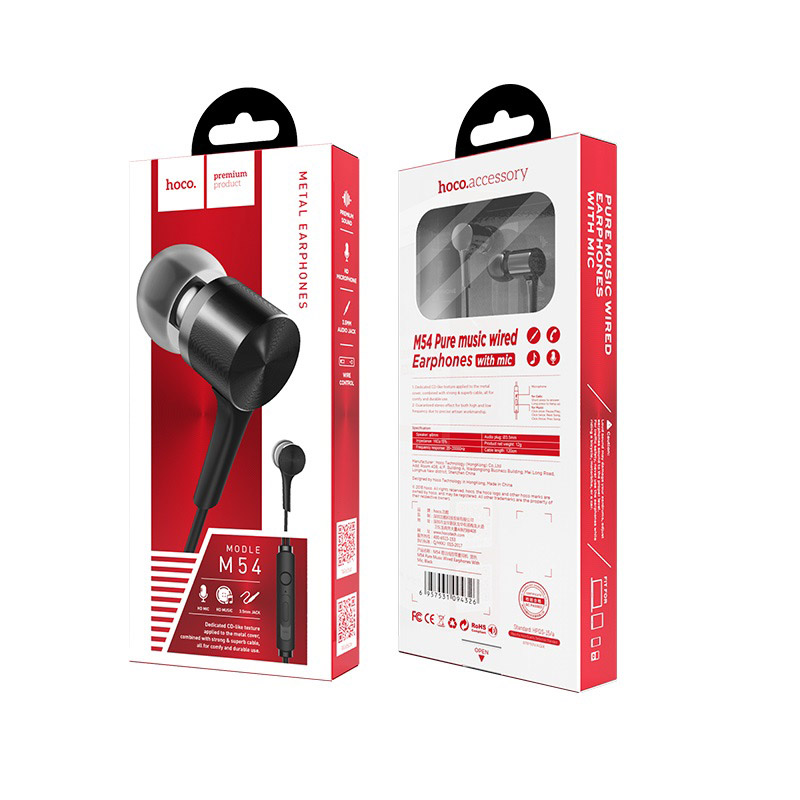 hoco m54 pure music wired earphones with mic box