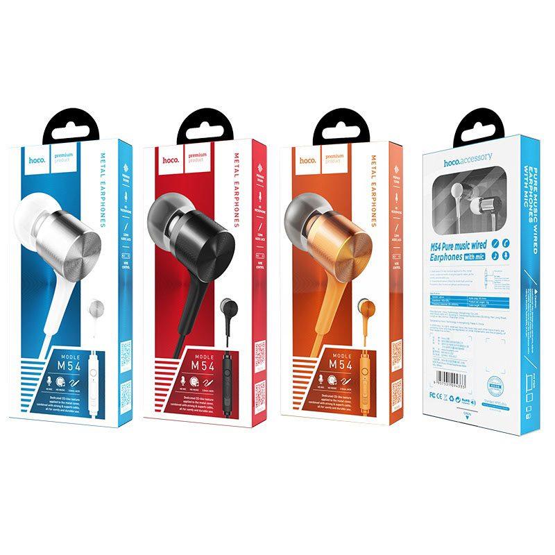hoco m54 pure music проводные наушники с микрофоном упаковка