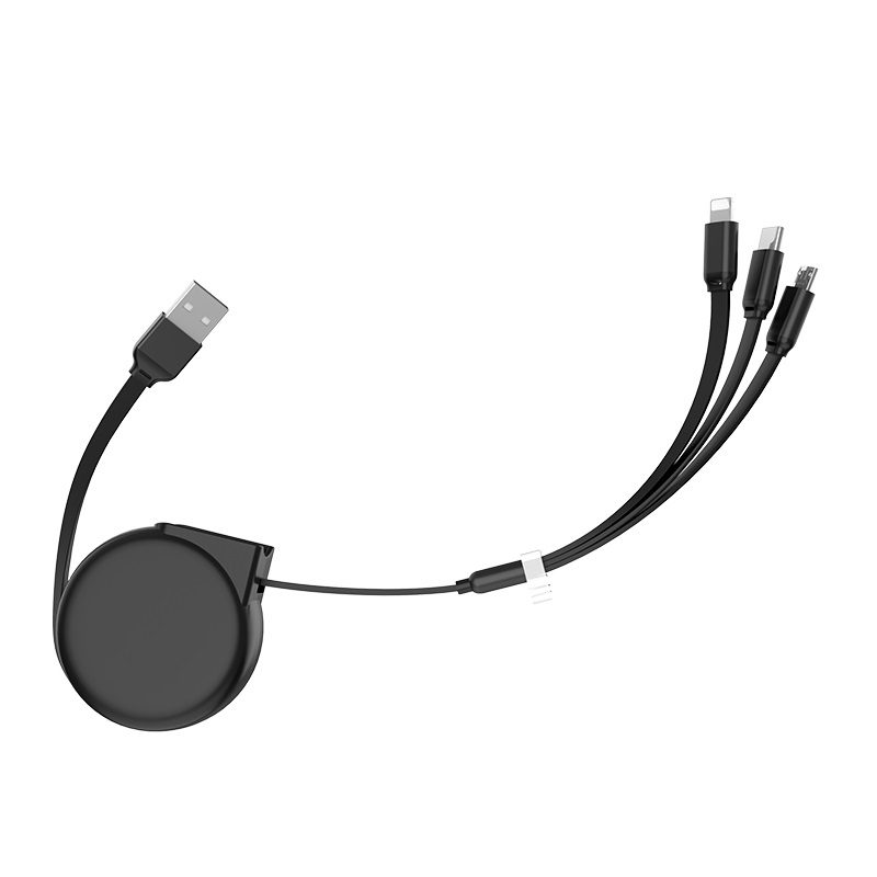 hoco u50 3 in 1 retractable charging cable flexible