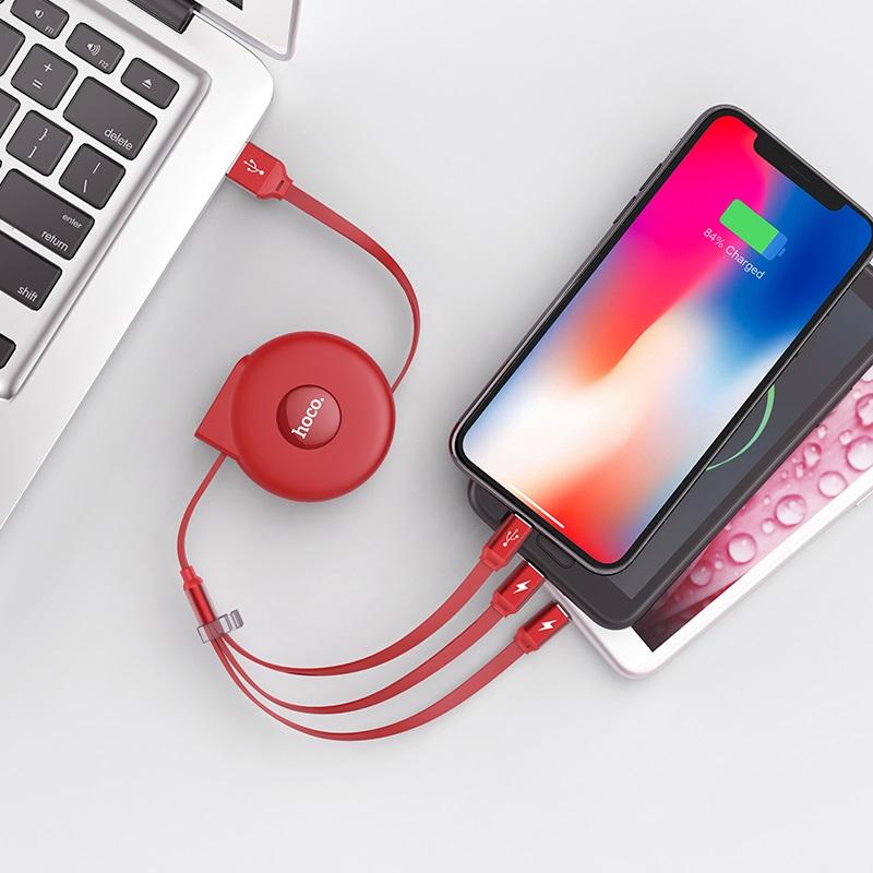 hoco u50 3 in 1 retractable charging cable wire