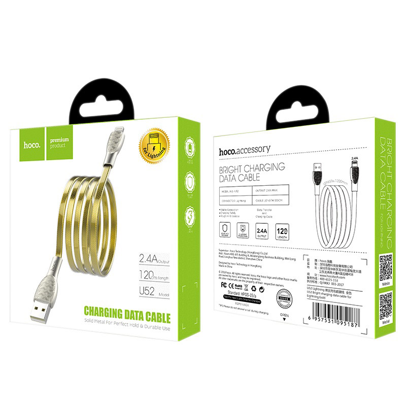 hoco u52 bright charging data cable for lightning box