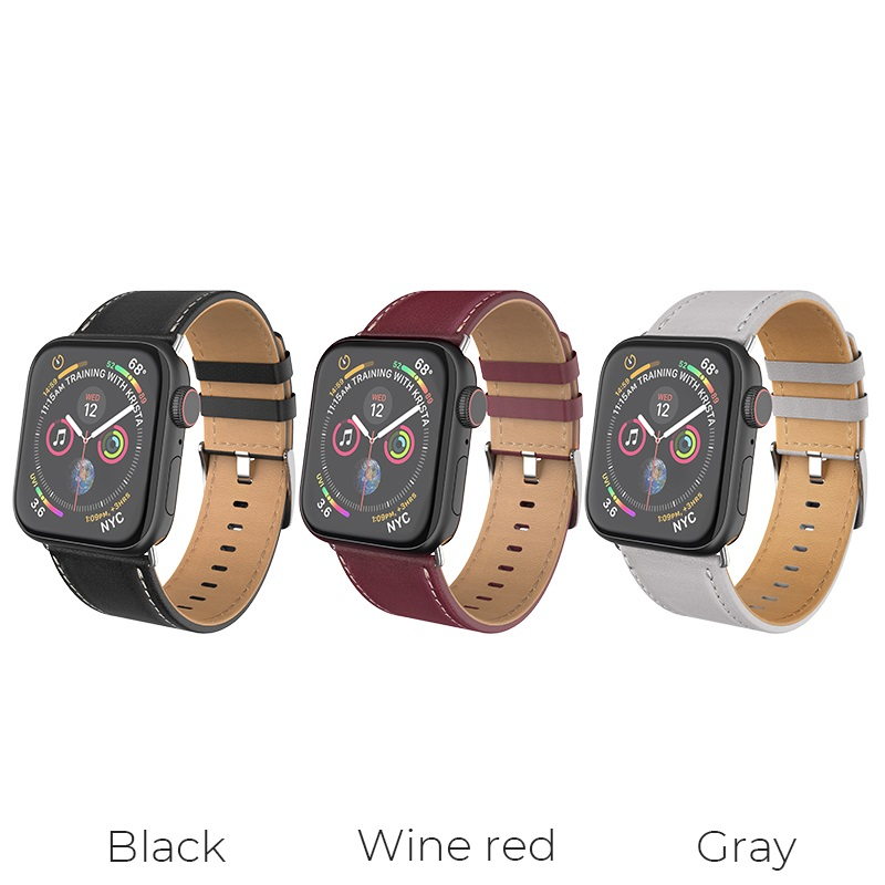 hoco wb04 duke series leather strap for apple watch series 1 2 3 4 colors