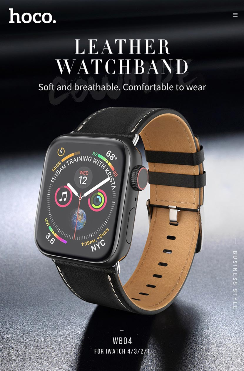 hoco wb04 leather apple watch watchband main en