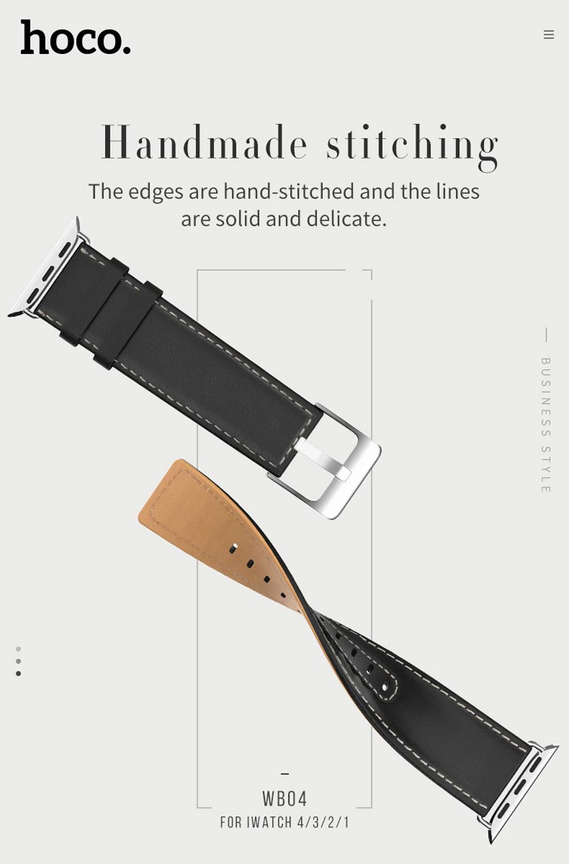 hoco wb04 leather apple watch watchband overview en
