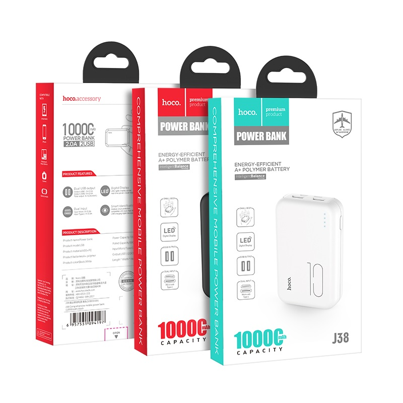j38 comprehensive mobile power bank 10000mah packages