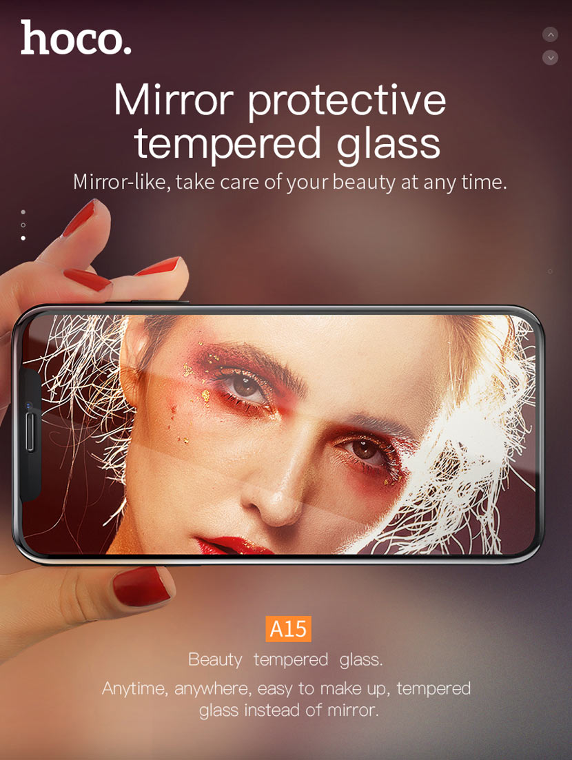hoco a15 mirror tempered glass for iphone main en