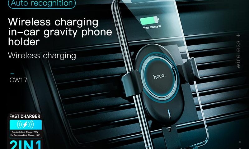hoco cw17 sage in car wireless fast charger banner en