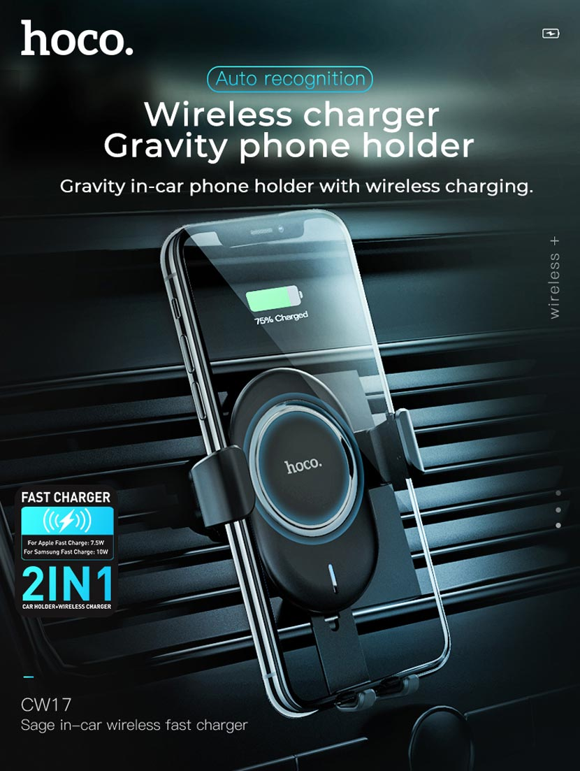 hoco cw17 sage in car wireless fast charger main en