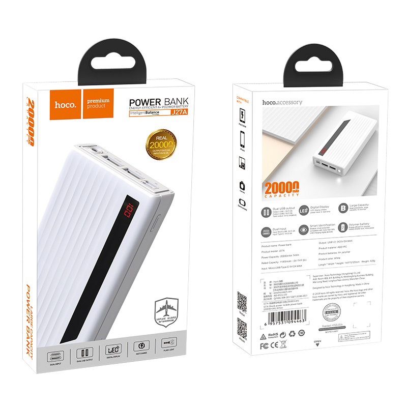 hoco j27a wide energy mobile power bank 20000 mah box