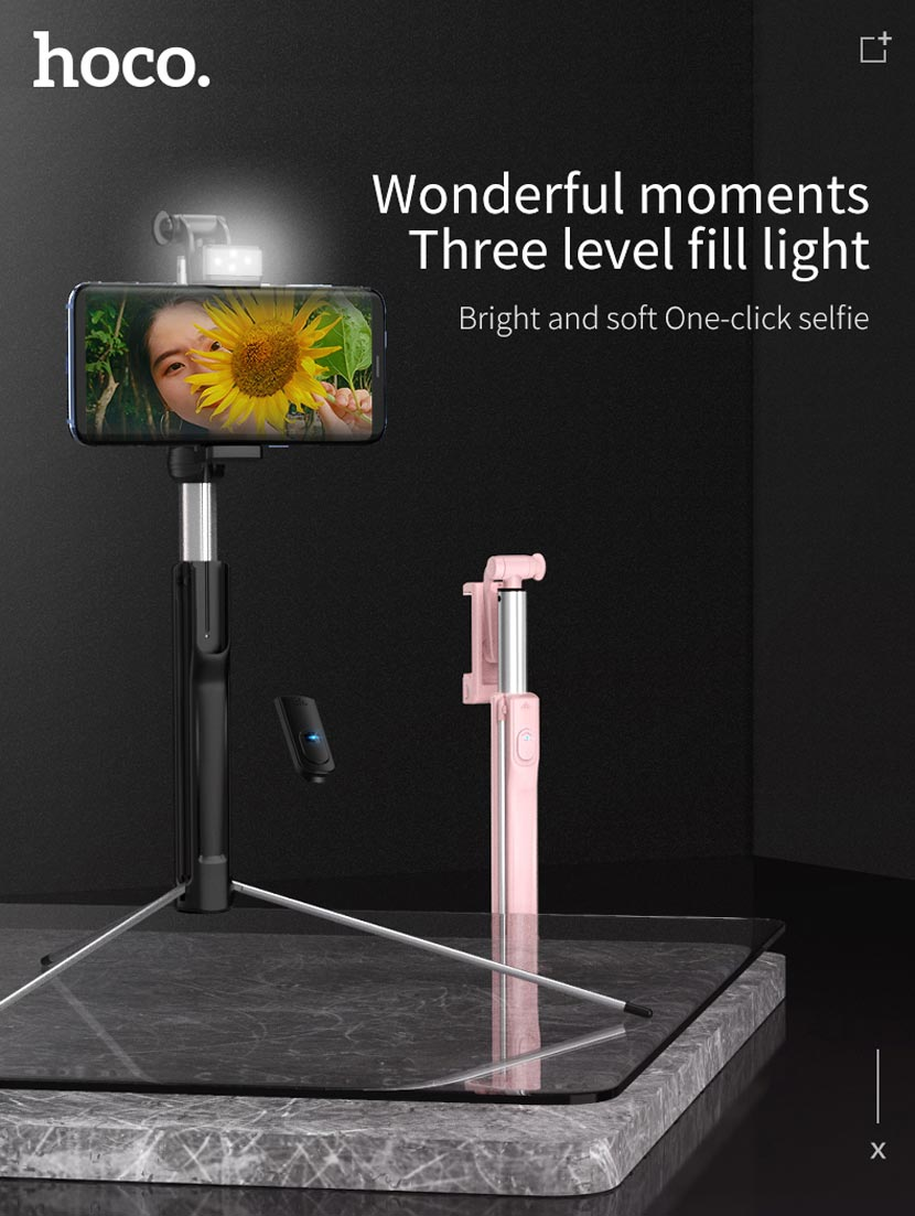 hoco k10a k10b magnificent wireless selfie stick with backlight flash en