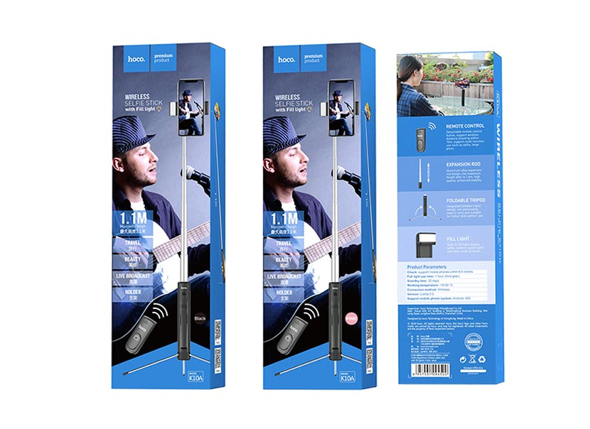hoco k10a magnificent wireless selfie stick with backlight package en