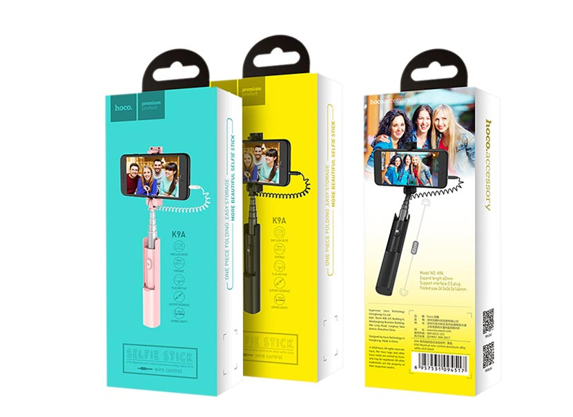 hoco k9a mystical wired selfie stick phone package