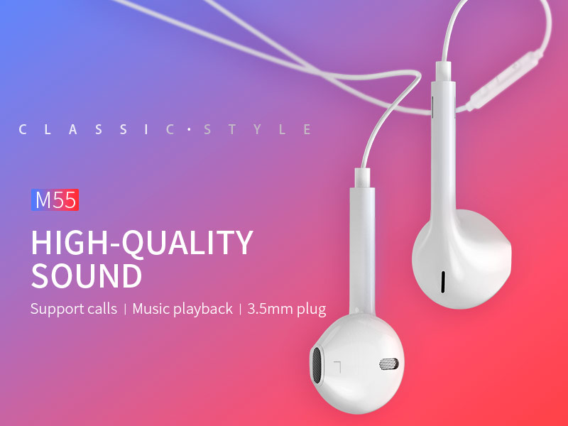 hoco m55 memory sound wire control earphones with mic banner en