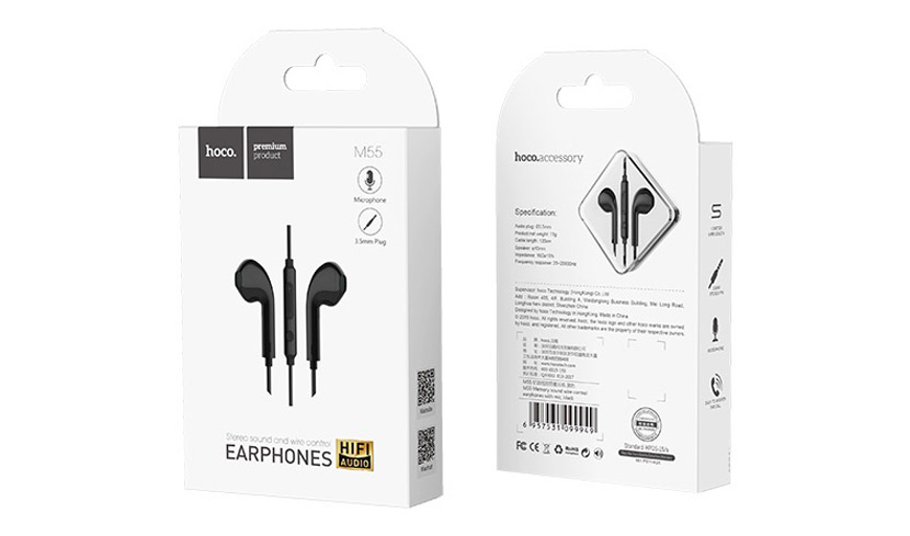 hoco m55 memory sound wire control earphones with mic black package