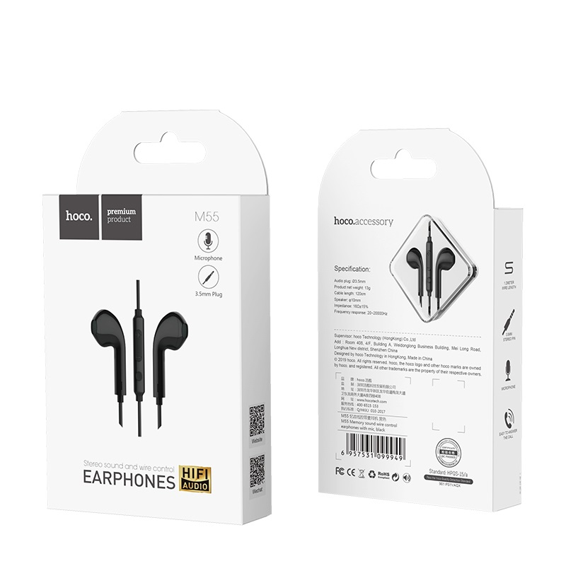 hoco m55 memory sound wire control earphones with mic box