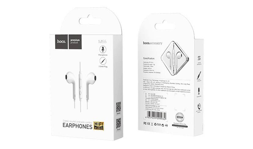 hoco m55 memory sound wire control earphones with mic white package