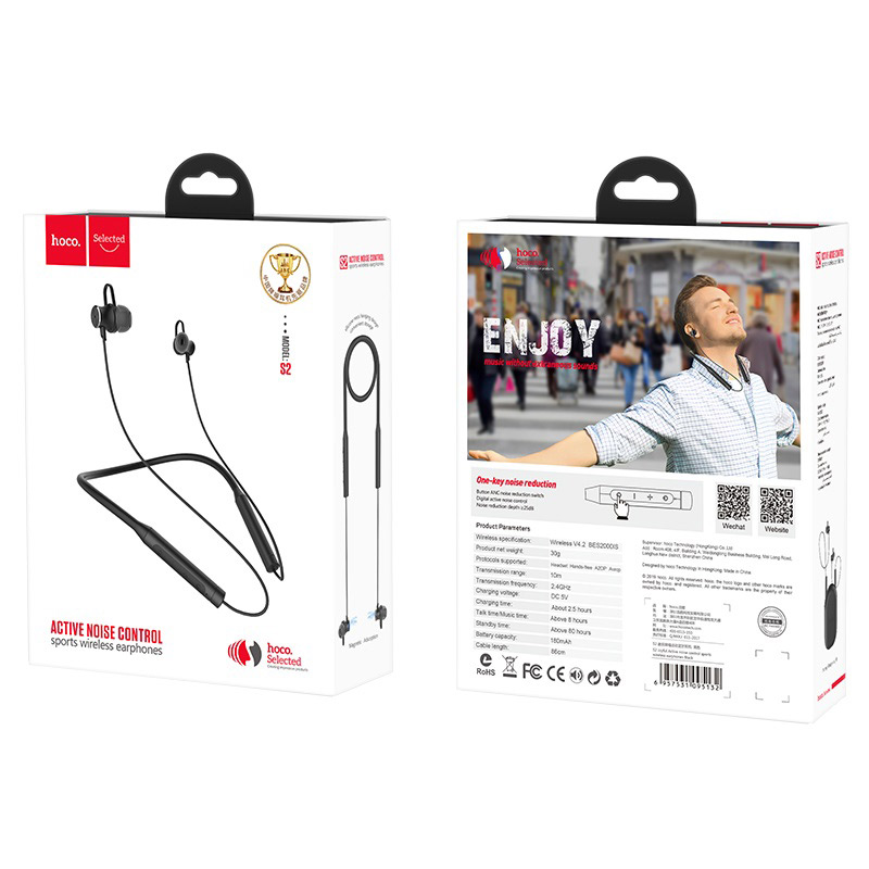 hoco s2 joyful active noise control sports wireless earphones package