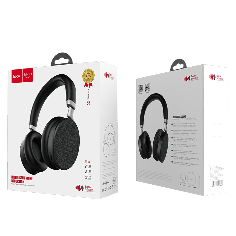 hoco s3 nature sound noise reduction wireless headphone package