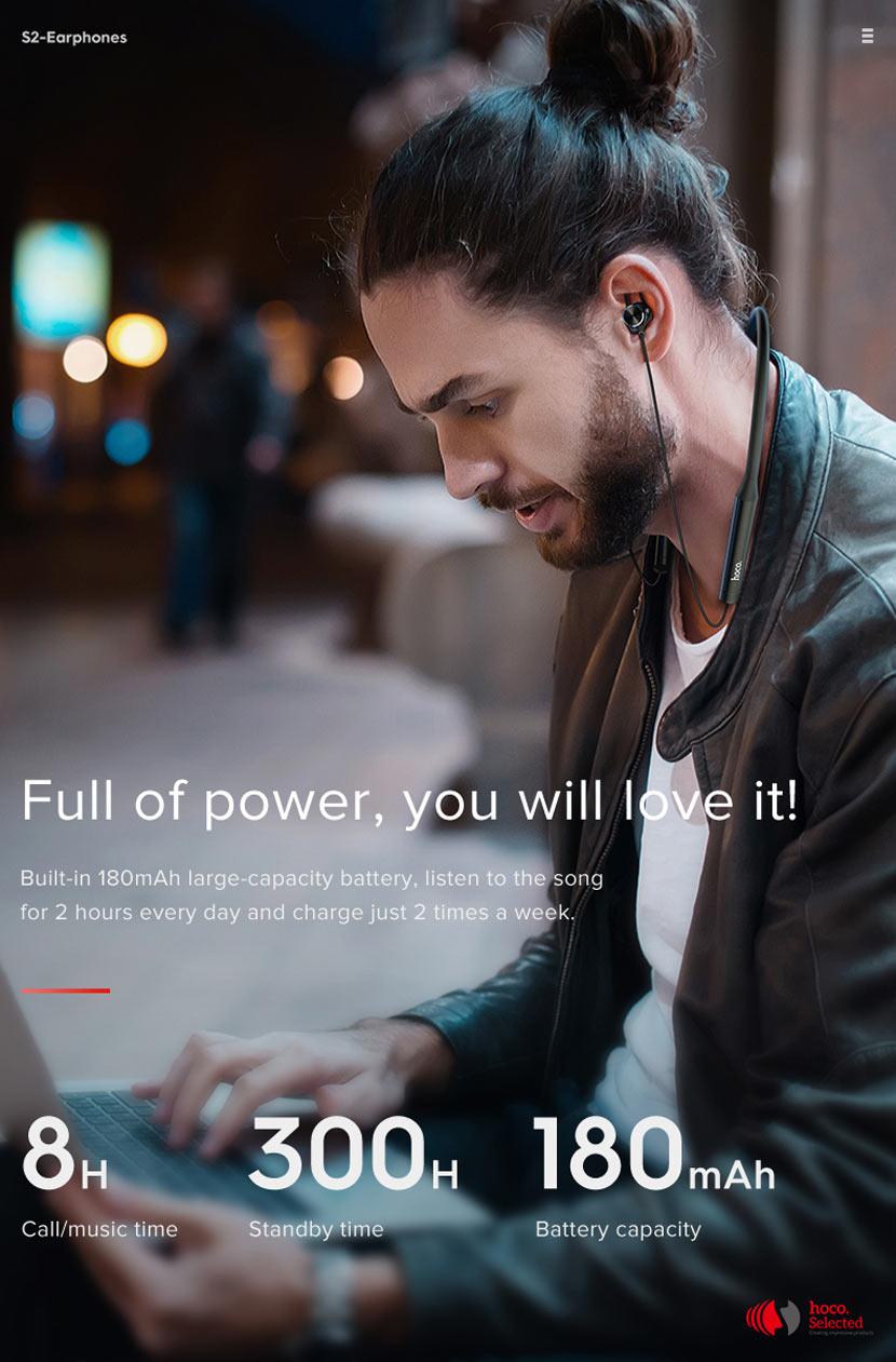 hoco selected s2 wireless earphones noise reduction battery en