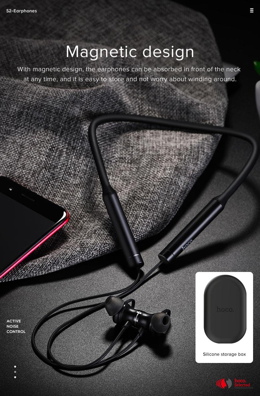 hoco selected s2 wireless earphones noise reduction magnetic en