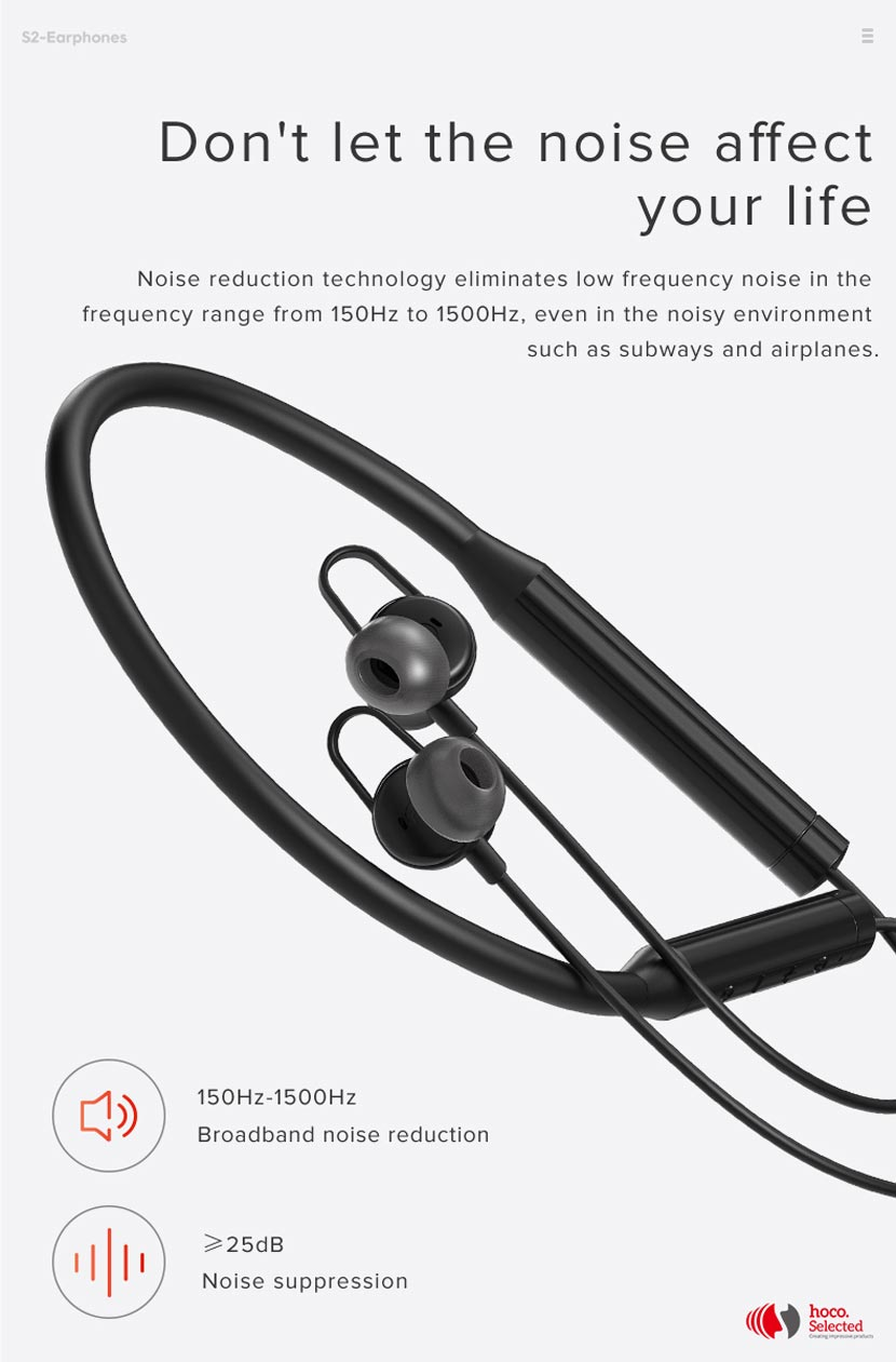 hoco selected s2 wireless earphones noise reduction neckband en