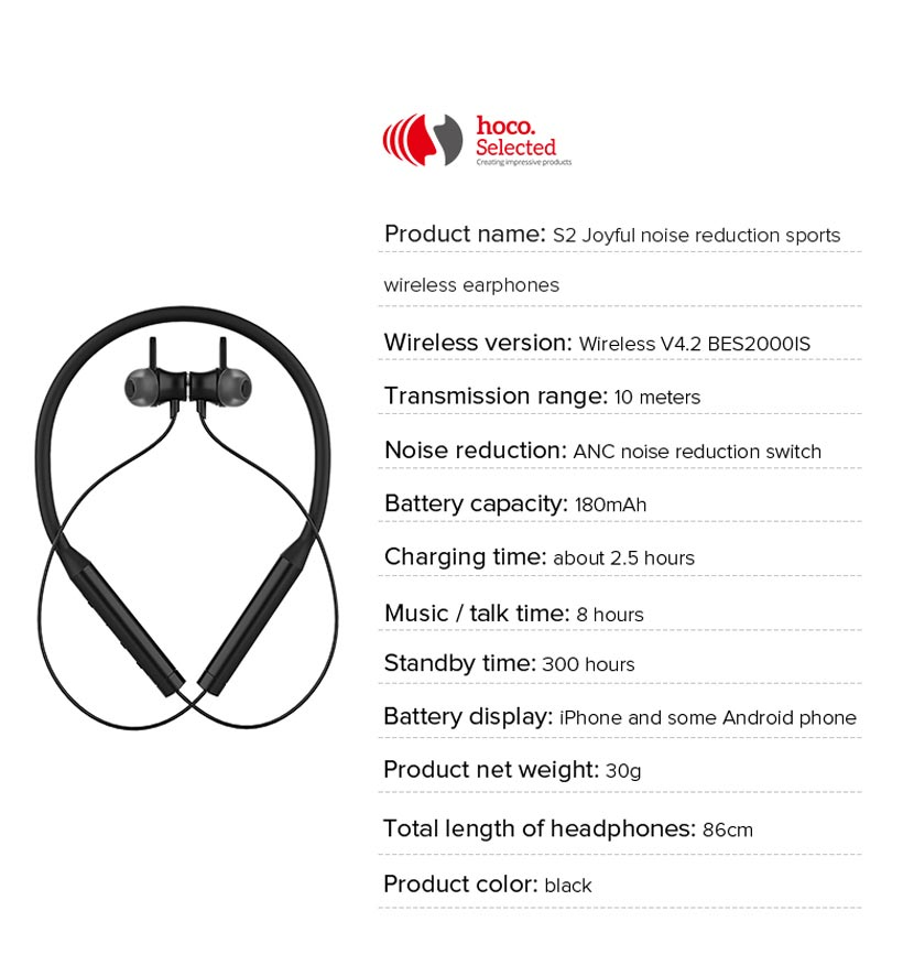 hoco selected s2 wireless earphones noise reduction specification en