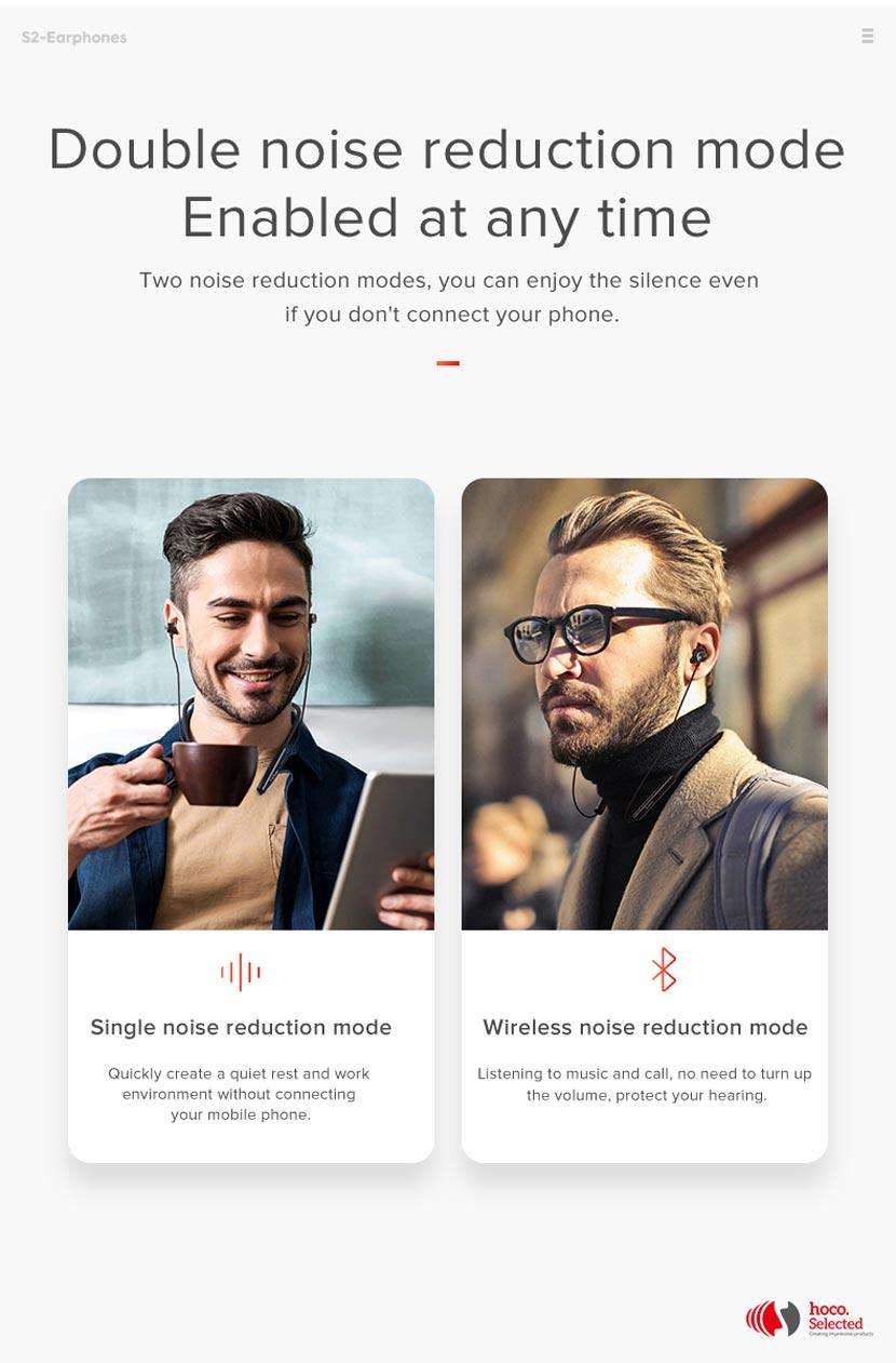 hoco selected s2 wireless earphones noise reduction switch en
