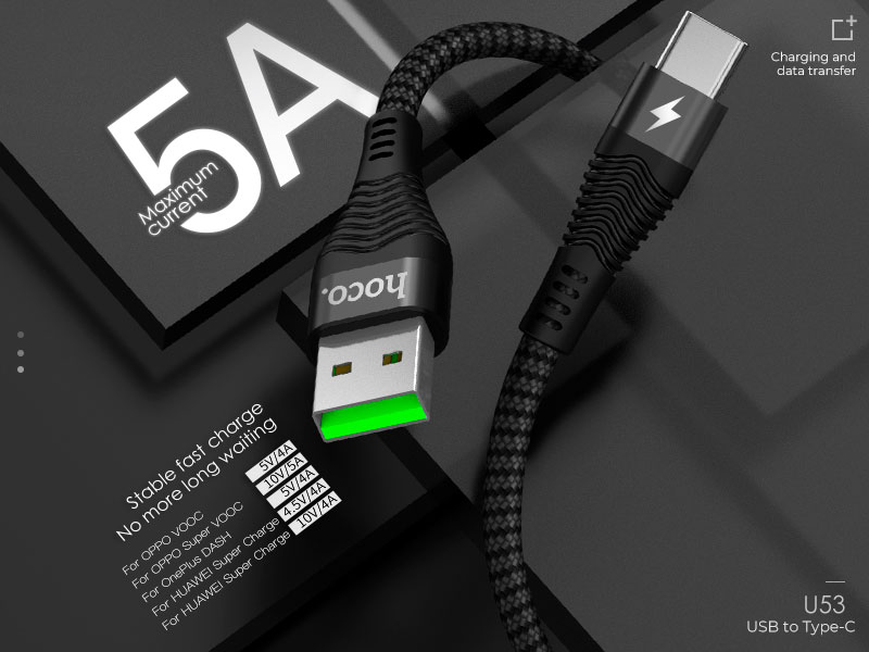 hoco u53 5a flash charging data cable for type c banner en