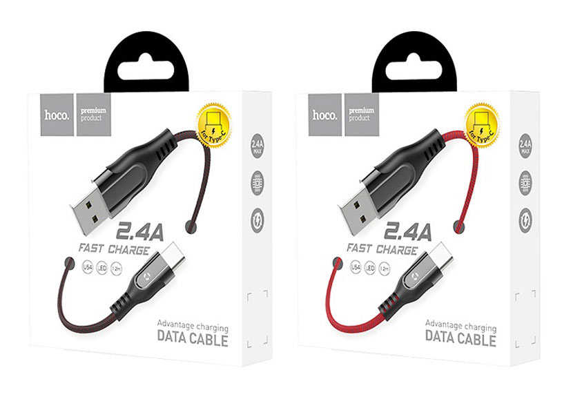 hoco u54 advantage charging data cable for lightning package type c en