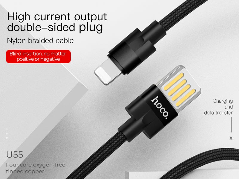hoco u55 outstanding charging data cable for lightning banner en