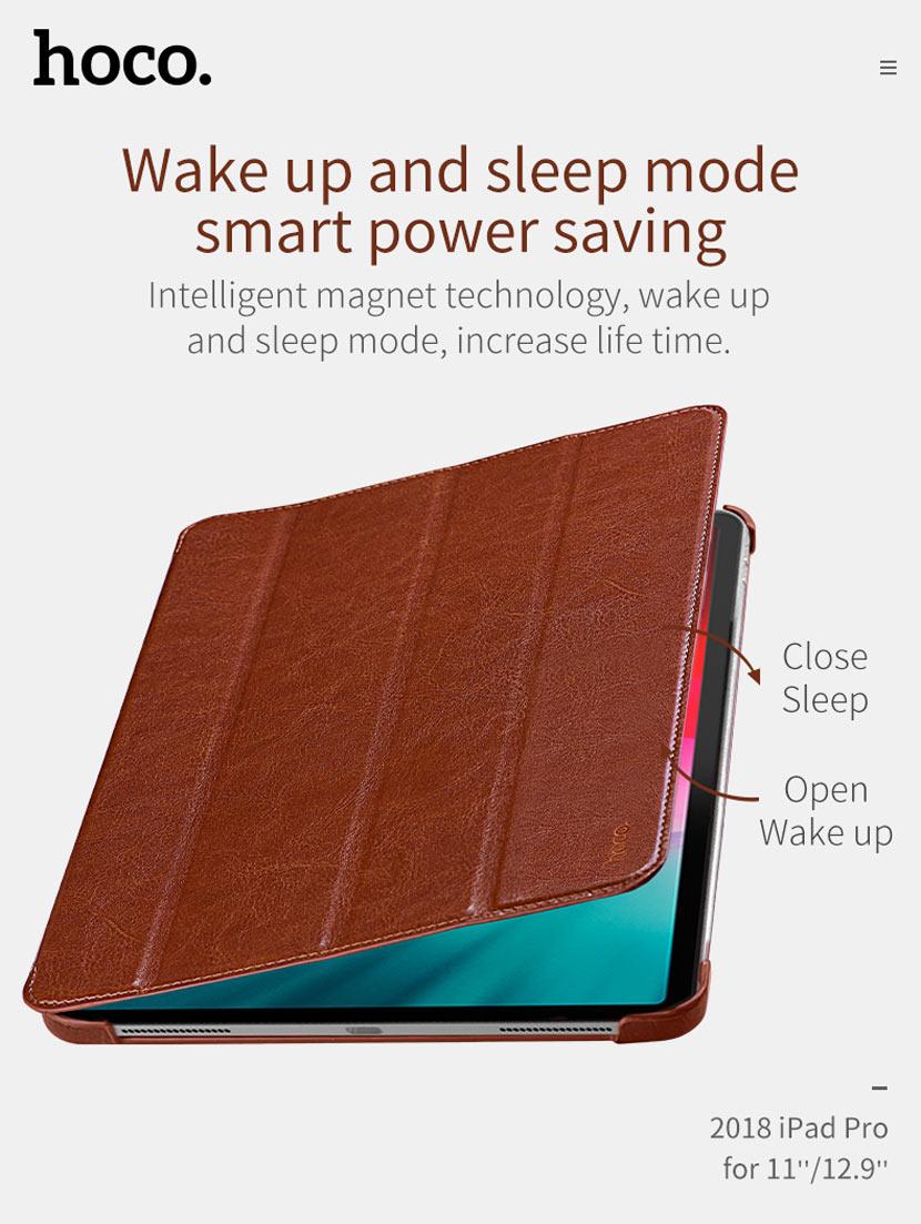 hoco ipad pro 12.9 11 inch retro leather case magnetic en