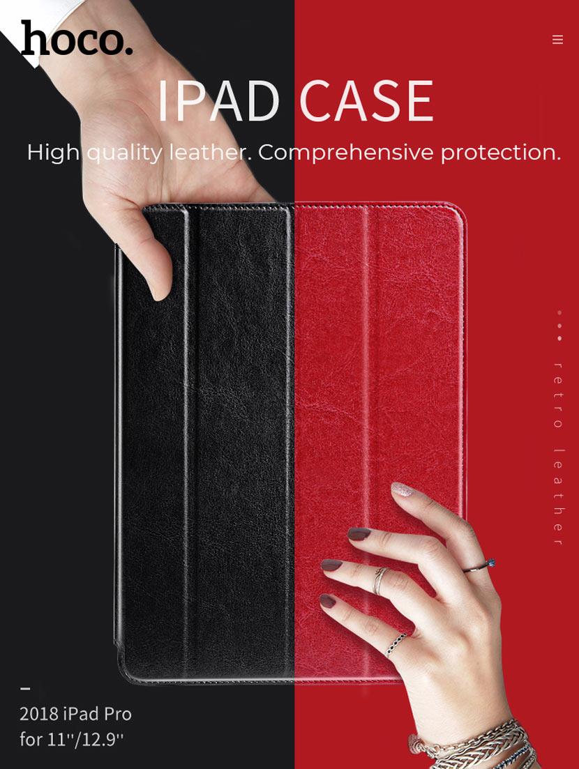 hoco ipad pro 12.9 11 inch retro leather case main en