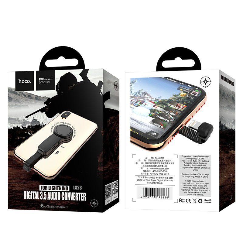 hoco ls23 le tour apple цифровой аудио конвертер lightning на 3.5мм упаковка