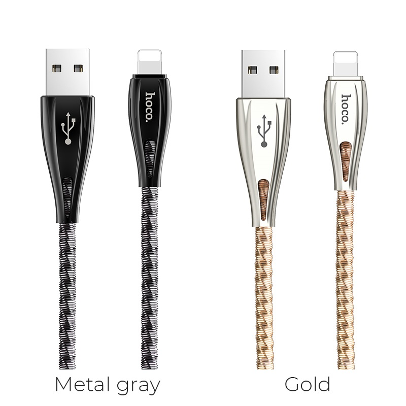 hoco u56 metal armor charging data cable for lightning colors