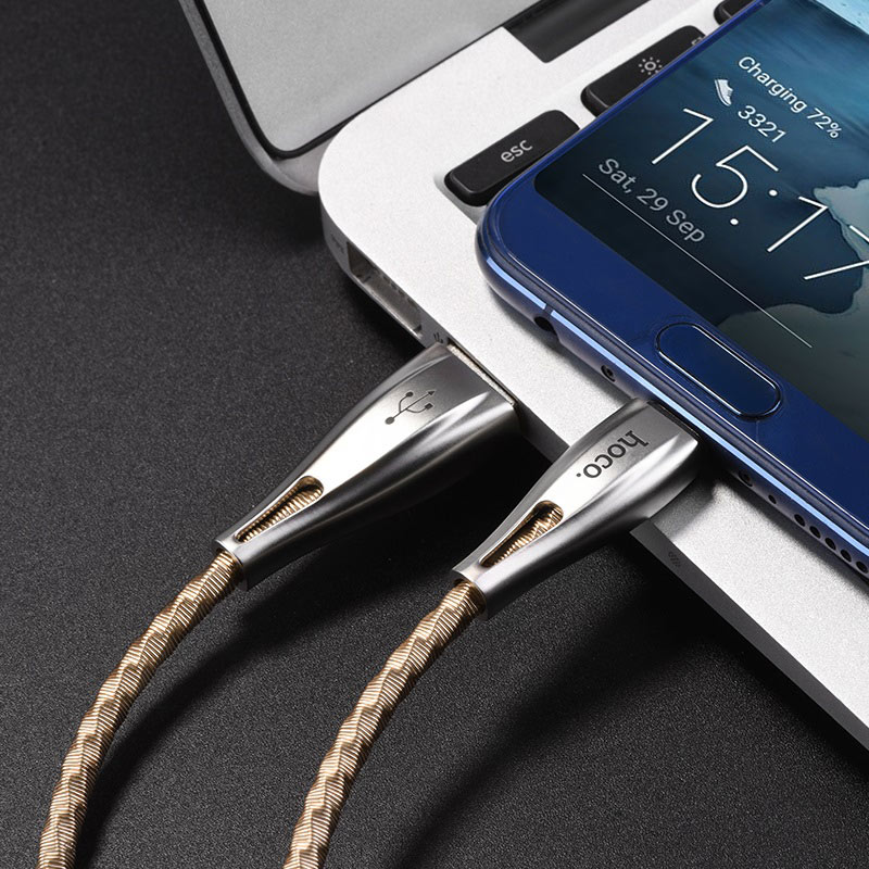 hoco u56 metal armor charging data cable for type c usb