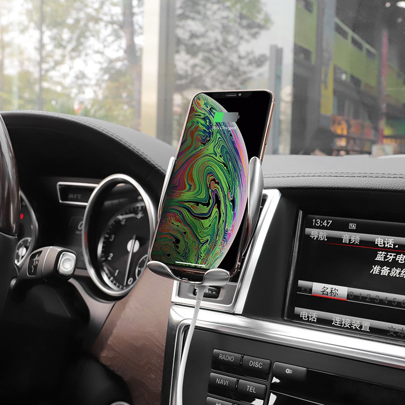 hoco ca34 elegant automatic induction wireless charging car holder gps