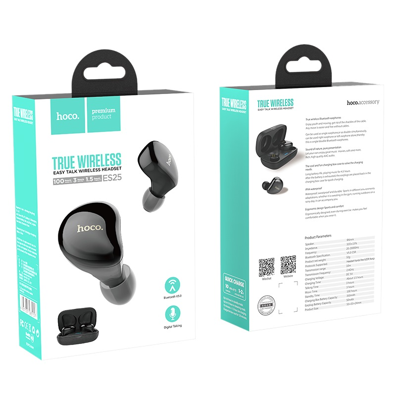 hoco es25 easy talk true wireless earphones box